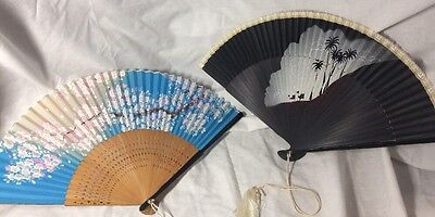 New NOS Vintage Hand Painted Black Camel Japanese Asian Fan Flowers Bamboo Lace