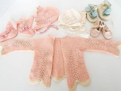 Vintage Baby Doll Sweater Booties Bonnets Crocheted Knit Mrs. Days Ideal Shoes