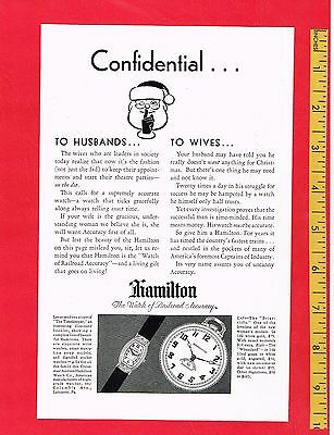 "Vintage Antique 1929 HAMILTON WATCHES for CHRISTMAS  6.5"" x 9.75"" Original AD"