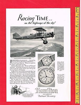 "Vintage Antique 1929 HAMILTON WATCHES Boeing Mail Plane 6.5"" x 9.5"" Original AD"