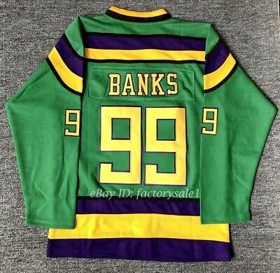 1dfdbef23  99 Adam Banks Mighty Ducks Green Men s Movie Hockey Jersey Double Stitched