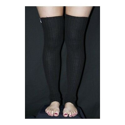 Pole Dance Gym Extra long Stirr-up Knit Legwarmers Black
