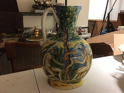 "Antique CANTAGALLI Faience Majolica Pottery 11"" Pitcher Jug Adam Eve Serpent"