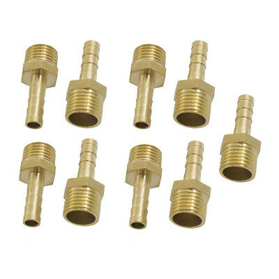 9 Pcs Brass 6mm Fuel Gas Hose Barb 1/4 inch Male Thread Coupling Fitting