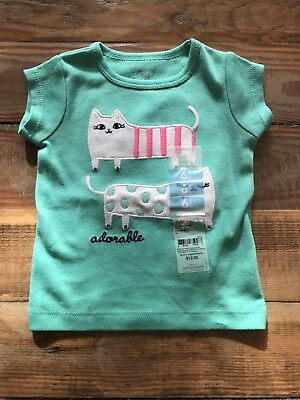 Carters Baby Girl Top 6 Months - Green With Cats - Free Postage