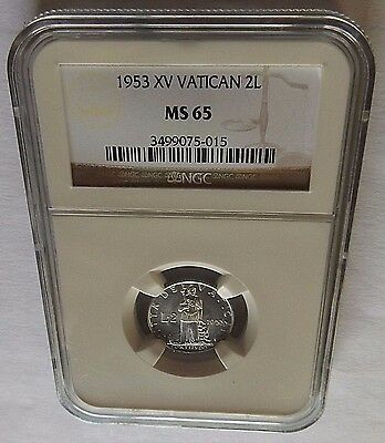 1953 Xv Vatican Ngc Ms65 2 Lire 2L! Only 1 Exists In Ms65! Ngc Total Pop=7!