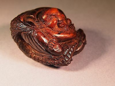 18th c Japanese antique netsuke Urashima Taro riding minogame turtle,Edo period
