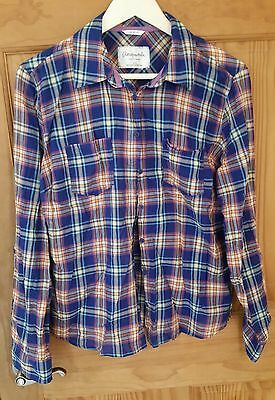 Aeropostale Plaid Button Up Semi Sheer Cotton Shirt Adjustable Sleeves XL EUC!
