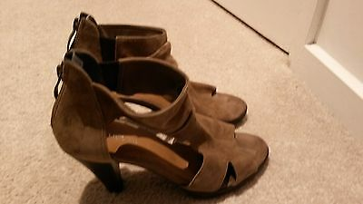 WOMENS JO MERCER LEATHER SUEDE BROWN HEELS SIZE 36 or 5.5 -6