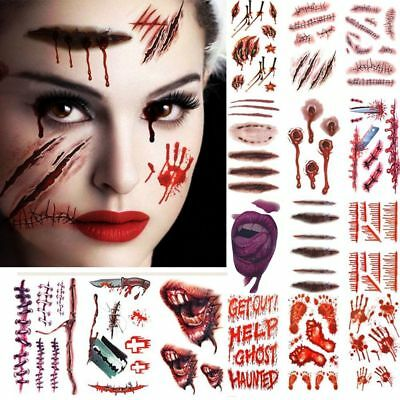 10pcs hot halloween tattoos sticker zombie scars with fake - Zombie scars with glue ...