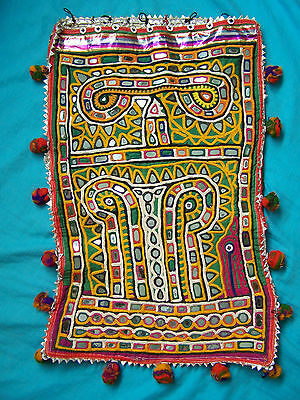 Vintage embroidered mirror work Gujarat large dowry bag.