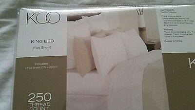 Koo Brand King Size Flat Sheet New In Pack