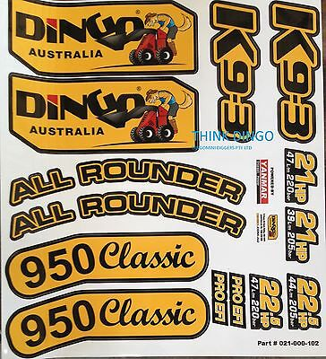 Decal/Sticker set K93, 950 Classic or All rounder Dingo Mini Digger with Logo