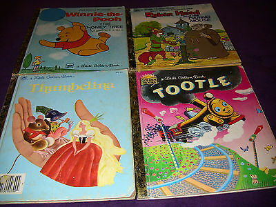 4 Little Golden Books: 'Tootle'  'Winnie the Pooh' 'Thumbelina' and 'Robin Hood'