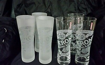 Set of 6 Peroni Nastro Azzurro quality 3 x frosted & 3 x clear beer glasses