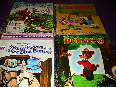 4 Little Golden Books: Billy Goats Gruff, Uncle Remus, Johnny Fedora and Bongo