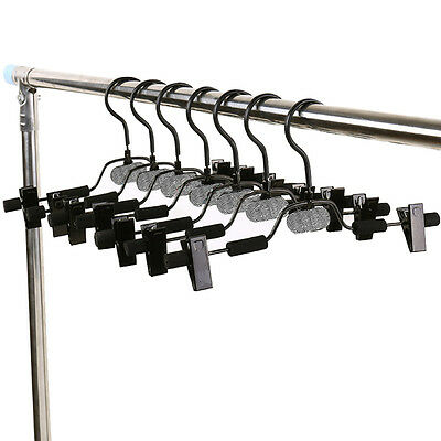 10pcs Extra Wide Metal Clothes Pants Skirts Hangers Adjustable Skirt Clips POP