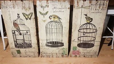 French provincial shabby chic wooden picture prints x 3