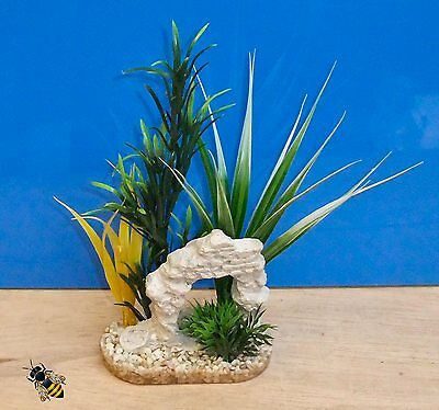 Aquarium Ornament Ruin Plant Green Yellow Fish Tank Bowl Decoration New