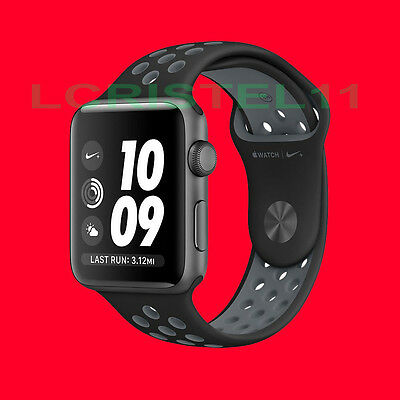 NEW - Apple Watch Nike+ 42mm Aluminum Case Black/Cool Gray Sport Band MNYY2LL/A
