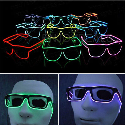 El Wire LED Party Brille Sonnenbrille Leuchtbrille Festival Leuchten Glasses