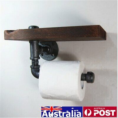 5.3'' Vintage Industrial Pipe Shelf Toilet Paper Holder Iron Roll Bathroom Towel