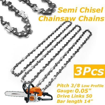 3Pcs Chainsaw Semi Chisel Chain 3/8'' .043'' 50DL for Stihl MS170 MS171 14'' Bar