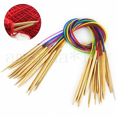 18 Size Pcs/Set 80CM Smooth Bamboo Circular Knitting Needles Pins 2.0-10mm