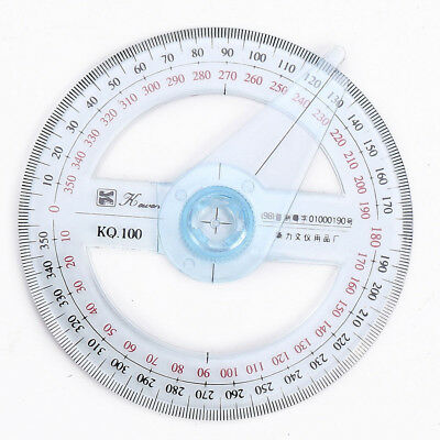 1Pc Plastic Round 360 Degree Protractor Ruler Swing Pointer Angles Measure Tool