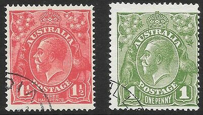 KGV    1d GREEN & 11/2d RED  NO WMK  BOTH FINE USED