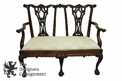 Vintage Chippendale Carved Mahogany Settee Ball and Claw Feet Loveseat Bench
