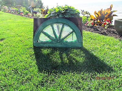 Vintage Sash Wooden Arched Oval Glass Window Sunrise Shabby Chic 5 Panes