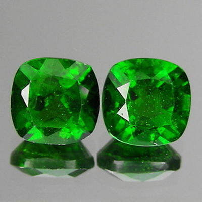 2.01cts 6mm Natural Loose Gemstones Cushion Pair Chrome Green Diopside Free Ship