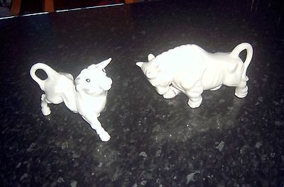Vintage Ceramic Red Bulls.. X 2 Only They Are White...
