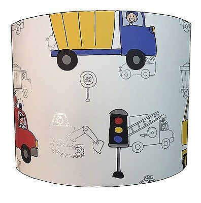 Lampshades Ideal To Match Children`s Transportation Duvets & Diggers Wallpaper.