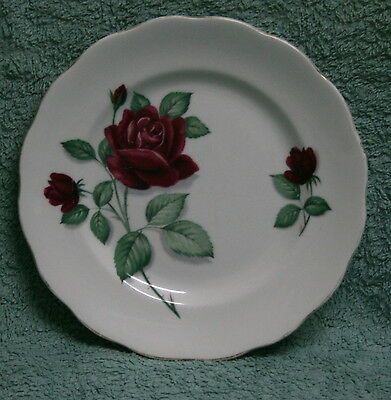 Plate Bread & Butter - Royal Standard Fine Bone China - Red Roses - Fine Gold Ed