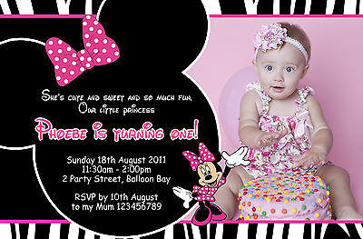 Personalised Mickey Minnie Mouse Birthday Invitations Kids Party Photo invites