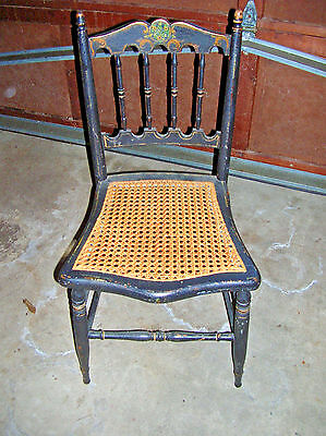 Vintage Antique Wood Cane Chair Hand Painted