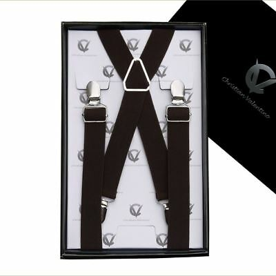 Boy's Braces Very Dark Brown X2.5cm Boys Suspenders Kids