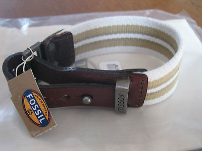 BNWT Mens Fossil Bracelet Brown Leather, cream & green canvas & cloth fossil bag