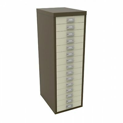 Bisley 15 Multi Drawer Filing Cabinet - Brown New Free Uk Delivery Special Offer