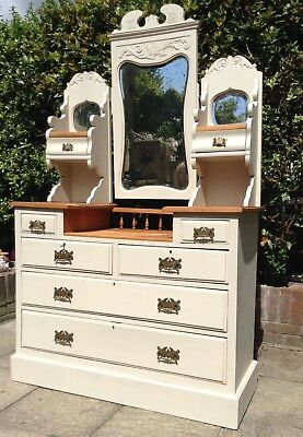 Antique Substantial Walnut Shabby Chic Dressing Chest.Delivery Available.