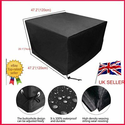 Heavy Duty Waterproof Rattan Cube Cover Garden Furniture Protection Black UK