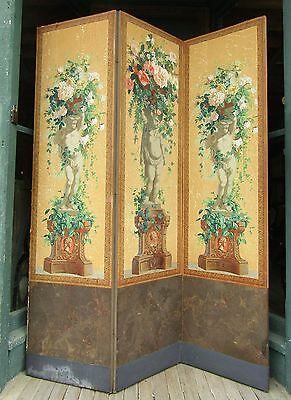 Huge Antique 3 Part Dressing Screen W Putti And Flower Design