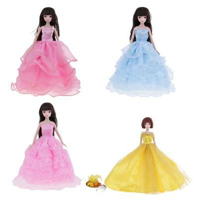 4 Party Dress Clothes Gown Clothing w/ Hat Crown for Barbie Doll Accessories