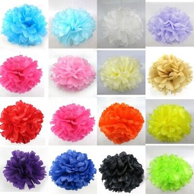 "10PCS Tissue Paper Pom Poms Flower Balls Wedding Party Hanging Decor 6"" 8"" 10"""