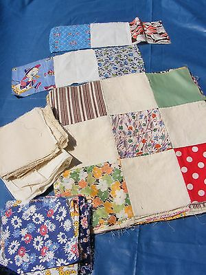 Lot of 19 Antique 9 Nine Patch Quilt Square Blocks 1930s Feedsack Prints + More