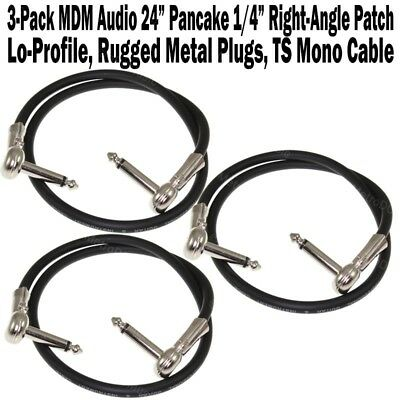 """3-Pack MDM Audio 24"""" Pancake 1/4"""" Right Angle Patch Cable Cord Guitar Low Plug"""