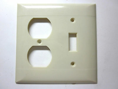 Vintage Sierra Bakelite ivory color 2 lines gang switch outlet plate cover combo
