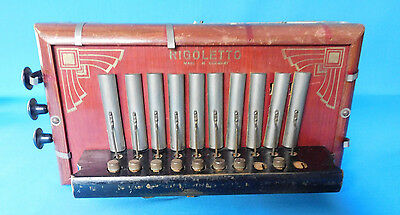 Antique Compact Rigoletto Accordion Working Condition Good Bellows Wooden Body